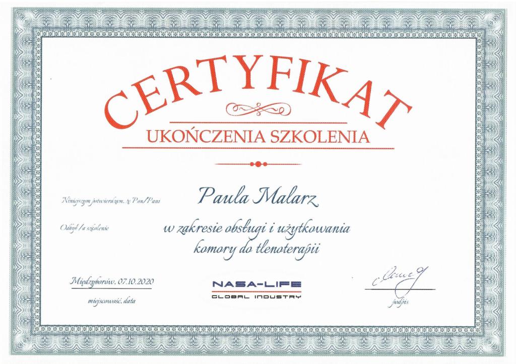 certyfikat paula malarz